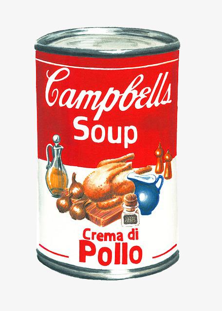 红色罐头手绘