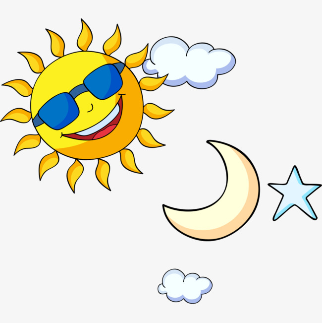 卡通太阳月亮星星素材图片