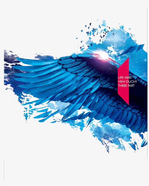 蓝色翅膀【高清装饰元素png素材】-90设计