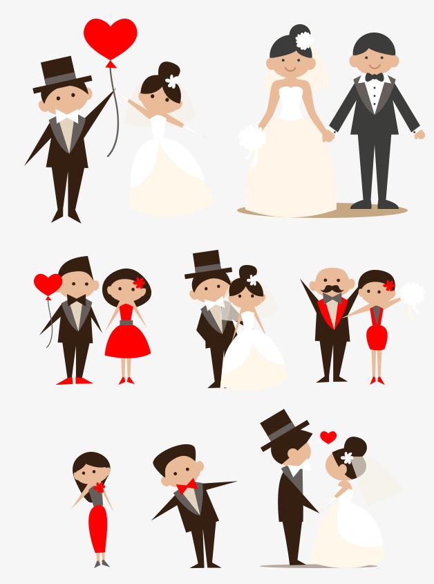 手绘卡通新人新郎新娘