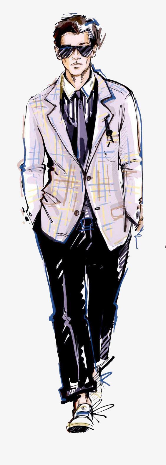 手绘服装设计男