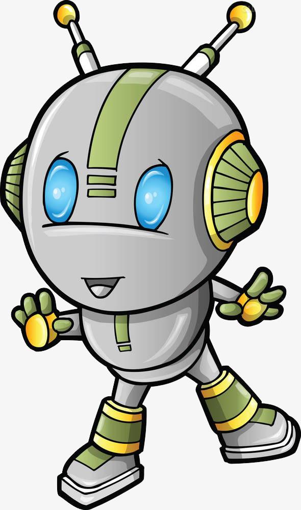 手绘彩色卡通机器人