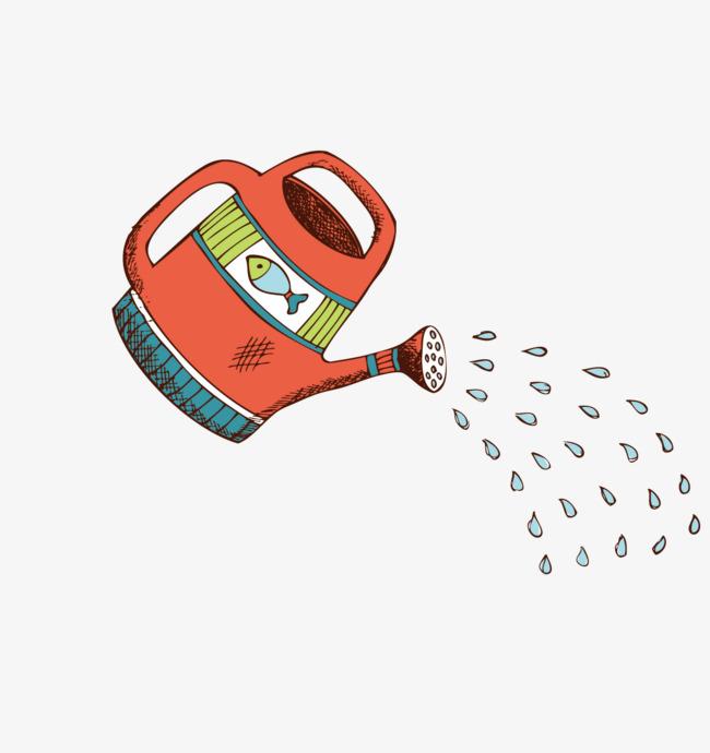 手绘洒水壶矢量素材
