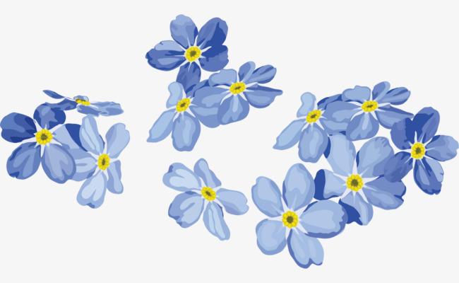 矢量手绘蓝色花朵png素材-90设计