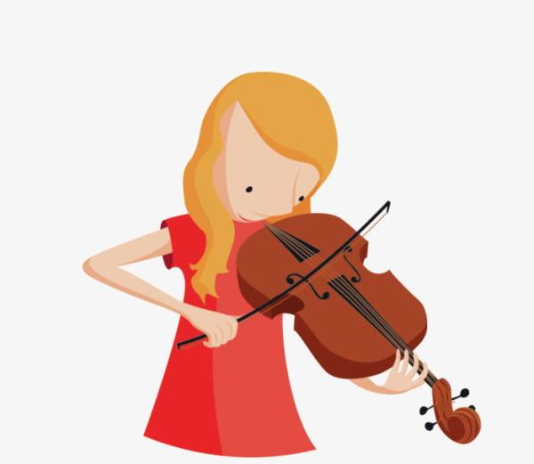 卡通拉小提琴小女孩图片