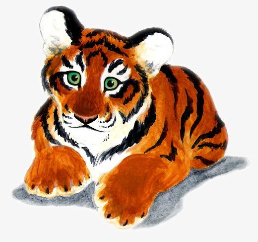 可爱的手绘趴着的小老虎