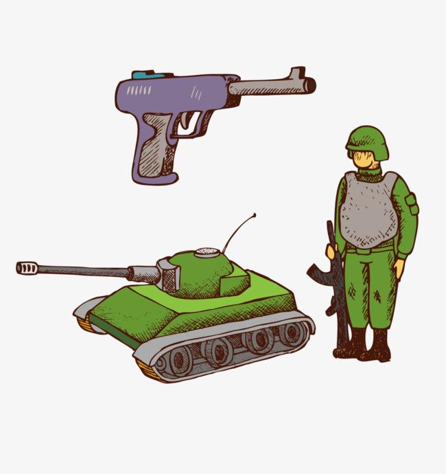 手绘坦克军人手枪
