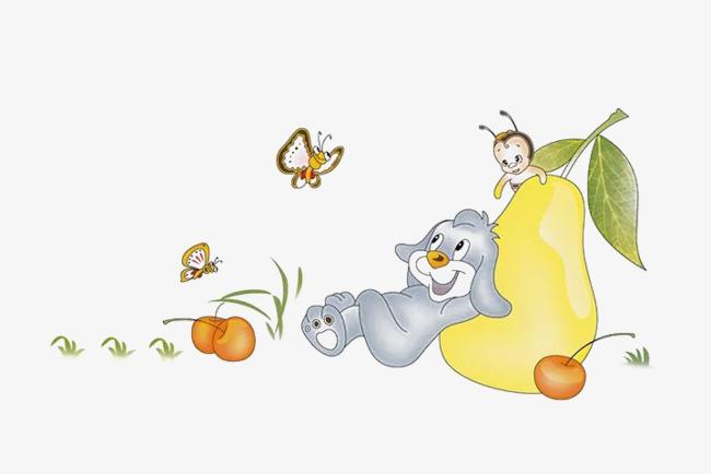可爱的小动物们和水果