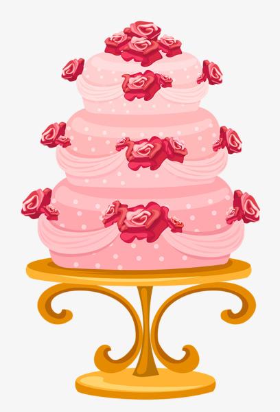 卡通粉色玫瑰三层结婚蛋糕【高清png素材】-90设计