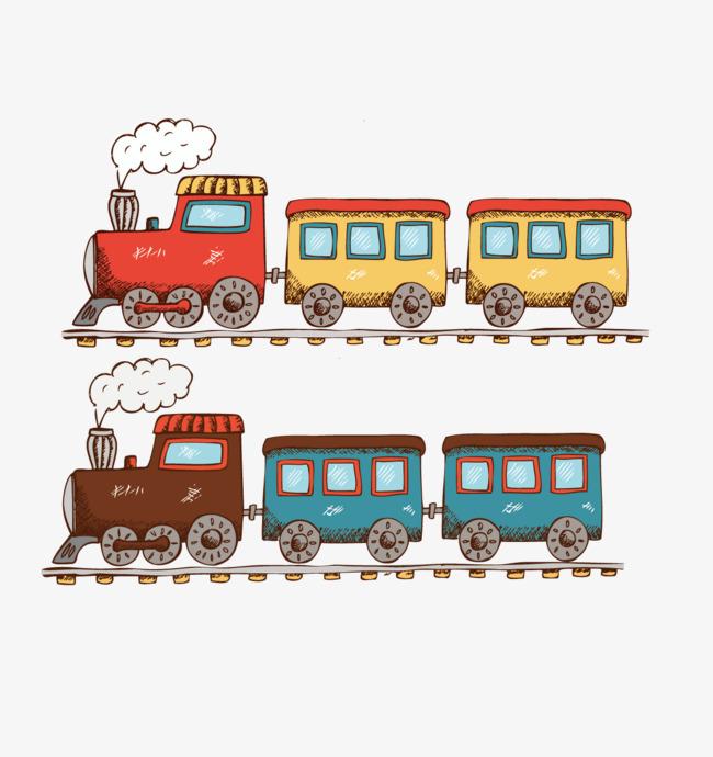 卡通手绘火车矢量素材