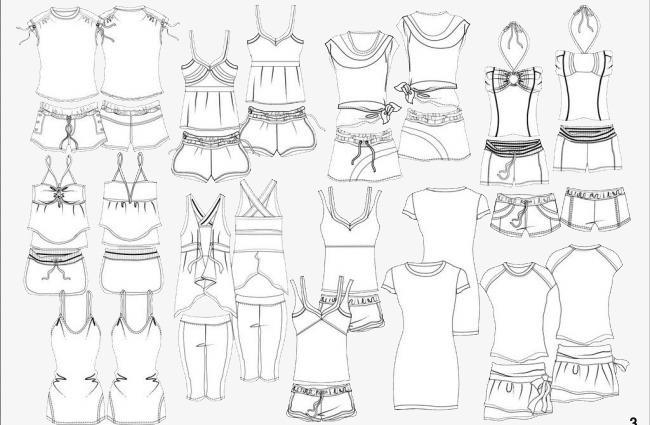 各式衣服手绘图