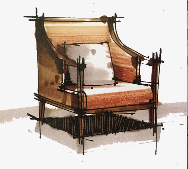 家具组合手绘效果图马克笔