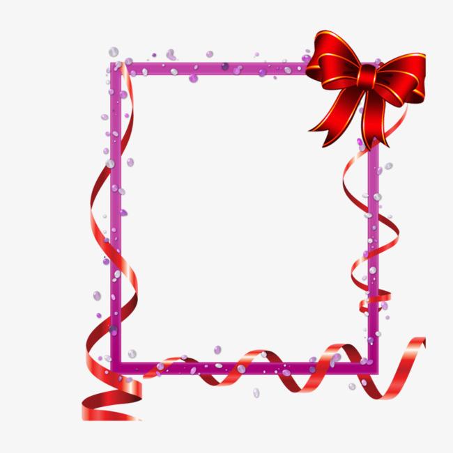 粉色带蝴蝶结长方形边框【高清边框纹理png素材】-90