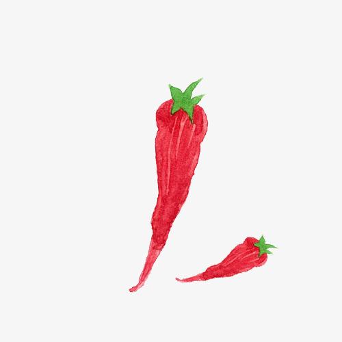 高清png手绘动漫素材免费下载,本次小清新简约手绘水彩红色长辣椒作品