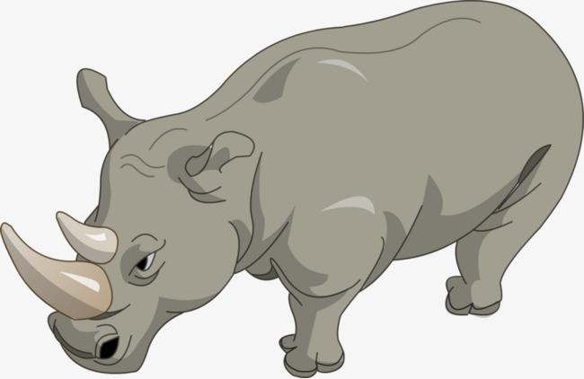 卡通手绘犀牛