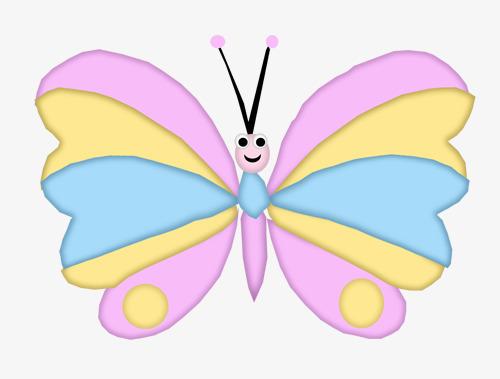 卡通手绘彩色蝴蝶
