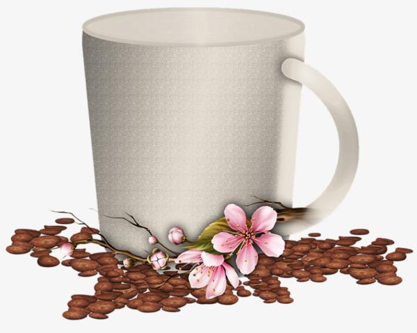 手绘花朵装饰白色杯子