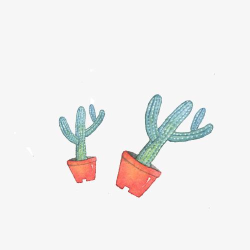 小清新简约手绘长条仙人掌