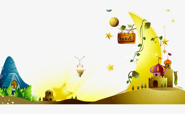卡通梦幻月亮城堡背景素材图片免费下载_高清装饰图案图片