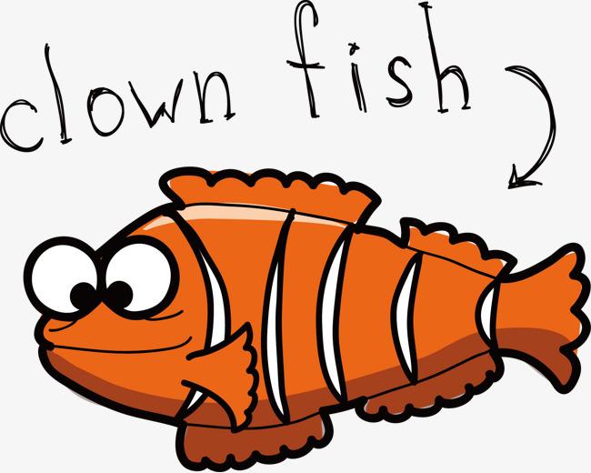 手绘小丑鱼卡通图片矢量素材