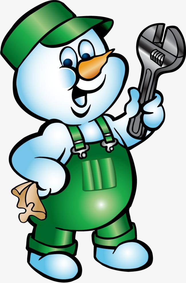 矢量手绘雪人维修工
