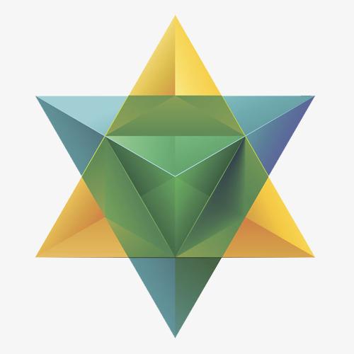 点击右侧免费下载按钮可进行 三角形拼接的六角星png图片素材高速下载