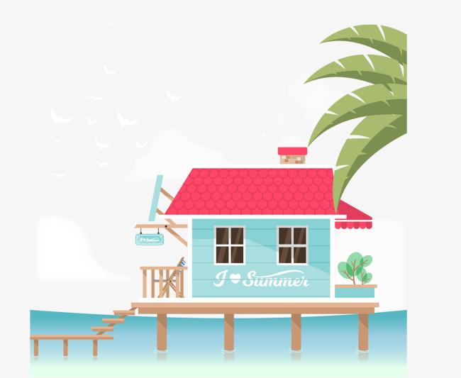 矢量手绘卡通海边的房子