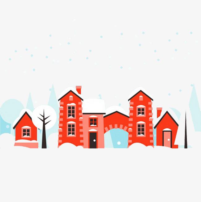 圣诞节下雪天的房屋素材图片免费下载 高清psd 千库网 图片编号6036177