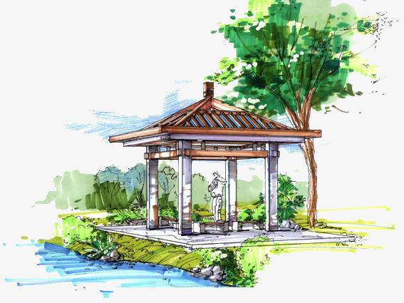 彩绘绿色凉亭风景画