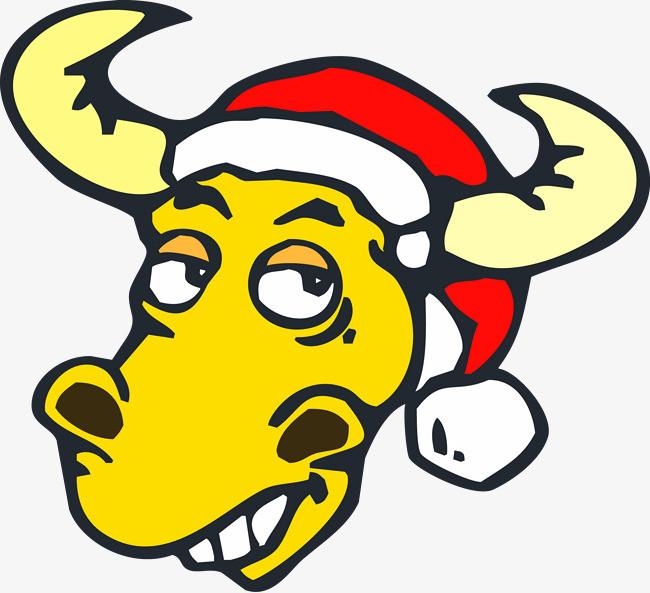 卡通可爱矢量牛圣诞帽图片