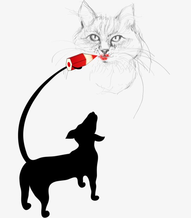 卡通手绘可爱狗画猫