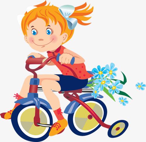 卡通手绘骑自行车小女孩