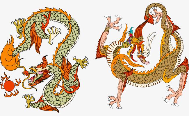 手绘矢量卡通中国风中国龙