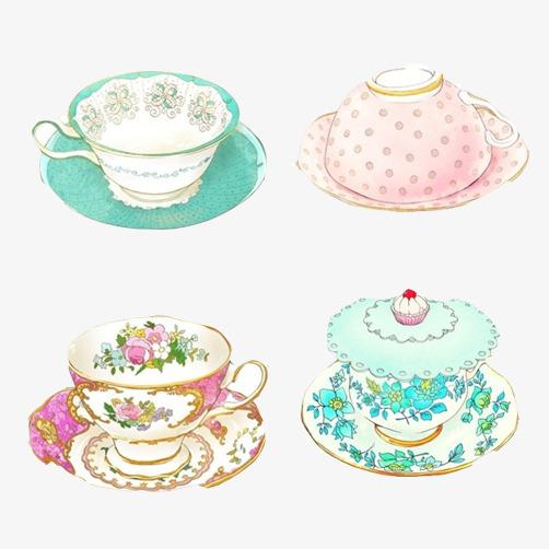 咖啡杯多种款式手绘图
