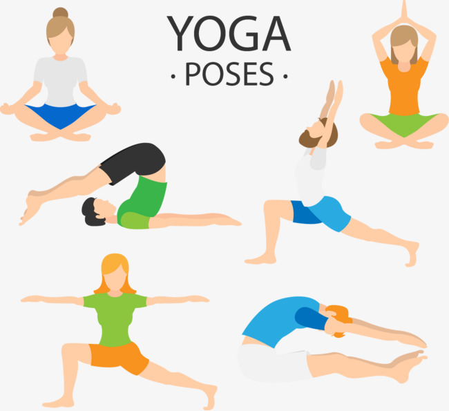 矢量手绘瑜伽运动