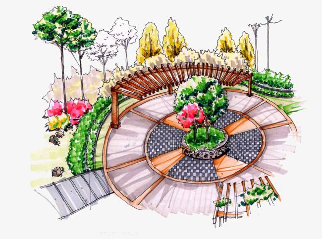 花园花坛手绘