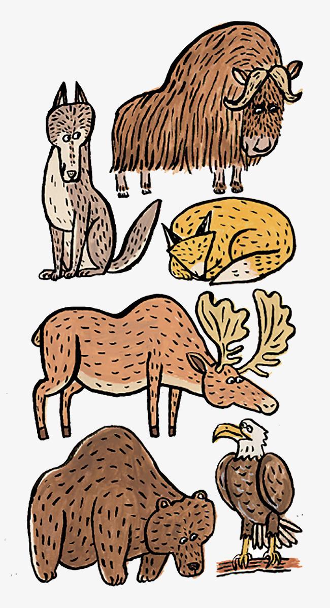 手绘卡通动物集合