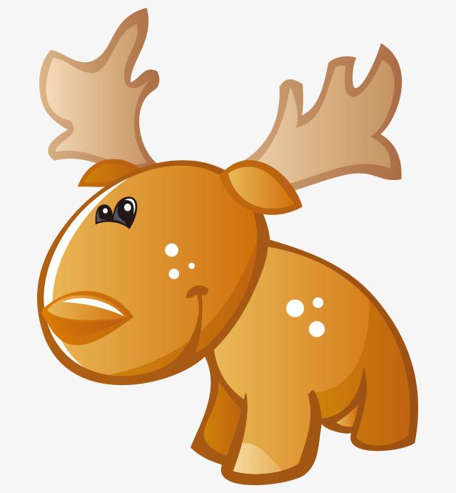 卡通手绘可爱黄色小鹿