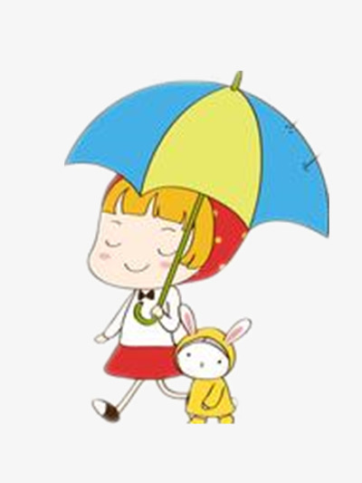 雨中行走到小姑娘图片