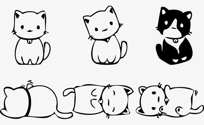 6只可爱的卡通小猫咪矢量图