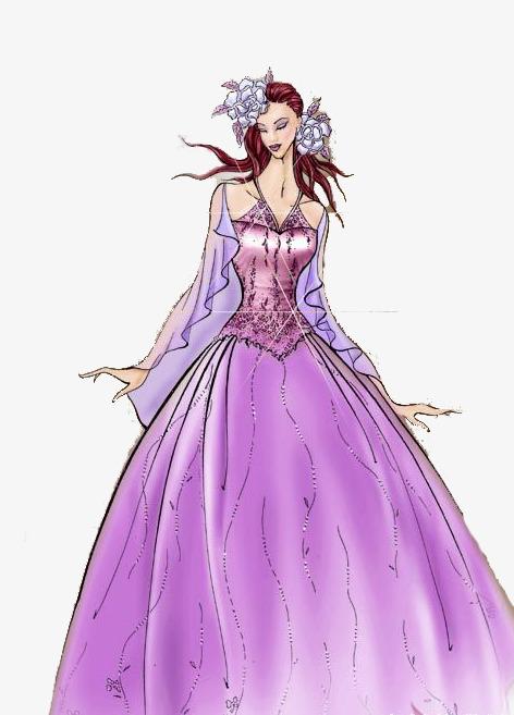 穿紫色礼服的女孩手绘图