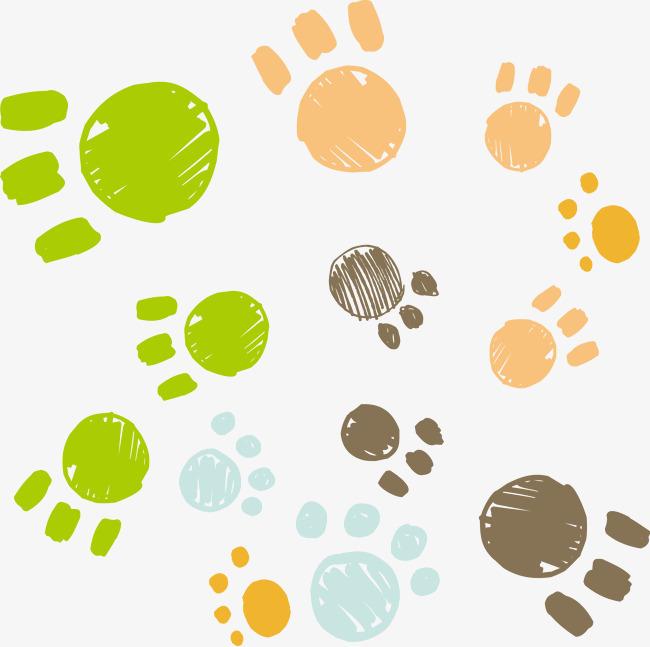小狗脚印矢量素材卡通图片