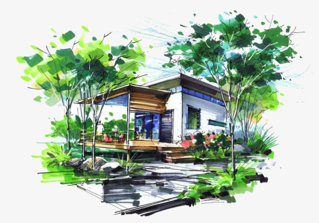 房子外观手绘图