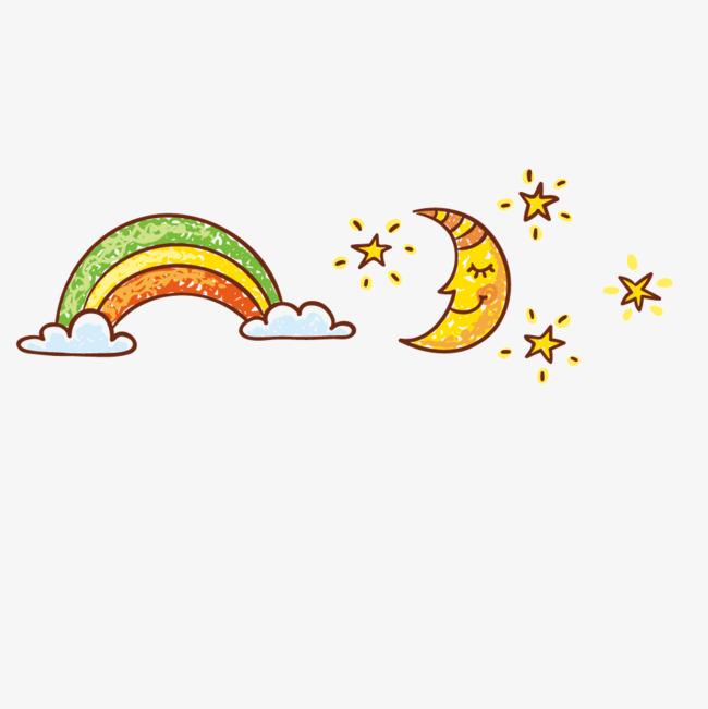 卡通手绘彩虹月亮png素材-90设计
