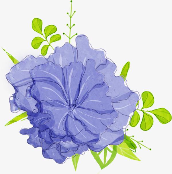 手绘小清新蓝色花朵png素材-90设计