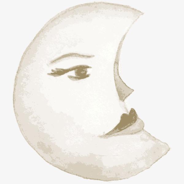 手绘人脸月亮