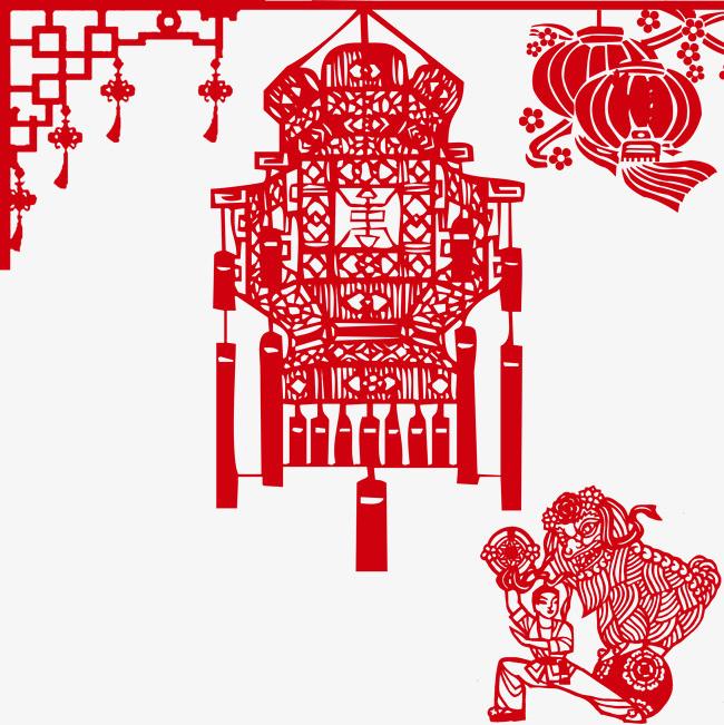 尺寸:2000*2000 90设计提供高清png海报素材免费下载,本次红灯笼剪纸