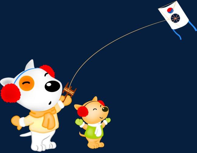 通手绘冬天小狗放风筝素材图片免费下载 高清卡通手绘psd 千库网 图片