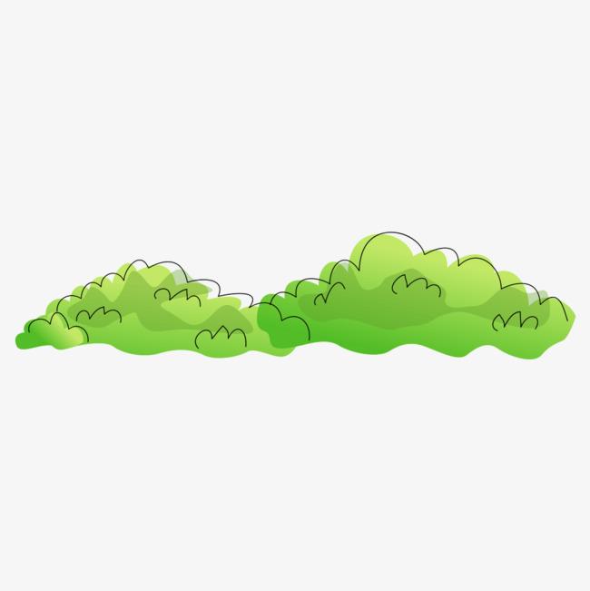 手绘灌木丛png素材-90设计