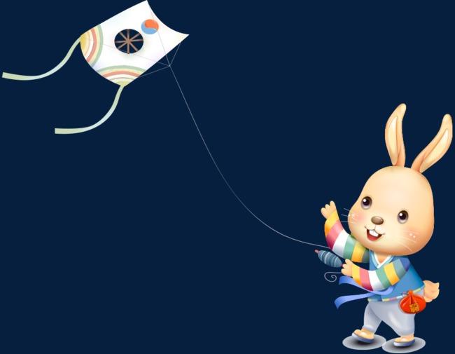 通手绘可爱兔子放风筝素材图片免费下载 高清卡通手绘psd 千库网 图片